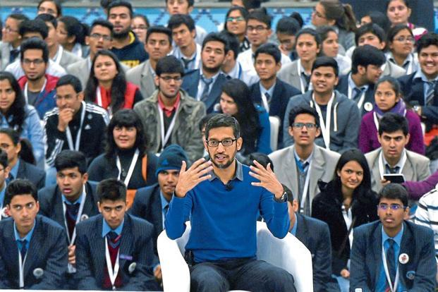 Sundar Pichai visited Delhi's Shri Ram College of Commerce last week. Manvender Vashist/PTI