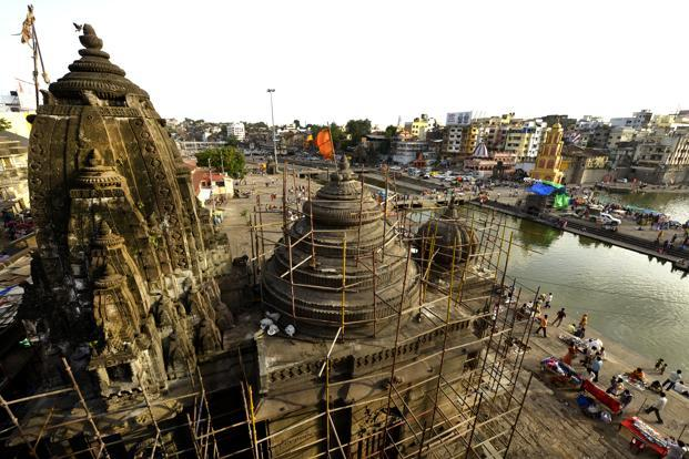 Several temples at Ram Kund, Nashik undergoing repair work as a part of the Kumbh Mela preparation. This photo was taken on 5 July 2015 by Abhijit Bhatlekar.