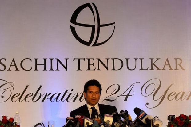 A file photo of Sachin Tendulkar addressing a press conference in Mumbai on 17 November, 2013. Photo: AFP