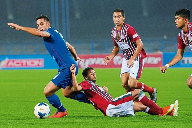 A 2015 I-League match between Bengaluru FC (in blue) and Mohun Bagan. Photo: Ashok Nath Dey/Hindustan Times