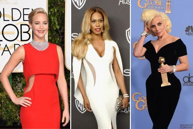 Jennifer Lawrence; Laverne Cox; and Lady Gaga at the 73rd Golden Globe awards. Photographs: AFP