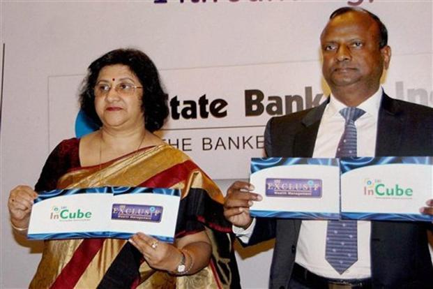 Chairperson of SBI Arundhati Bhattacharya and managing director Rajnish Kumar, National Banking Group (NBG) launch SBI Exclusif and SBI InCube. Photo: AP