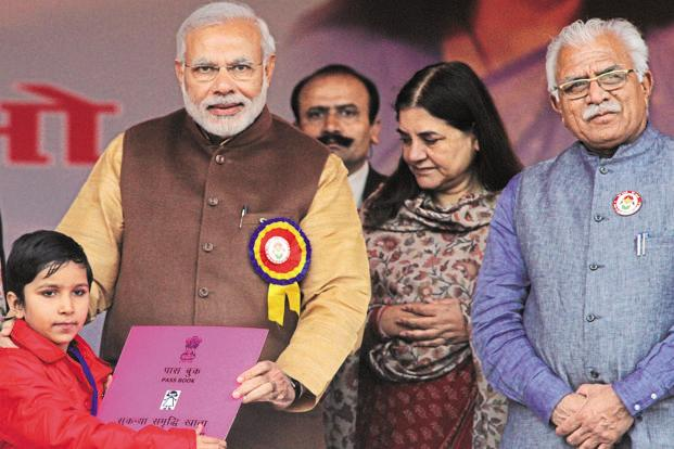 Prime Minister Narendra Modi (2nd from left) had launched the 'Beti Bachao Beti Padhao' programme from Panipat on 22 January 2015. Photo: Ravi Kumar/HT