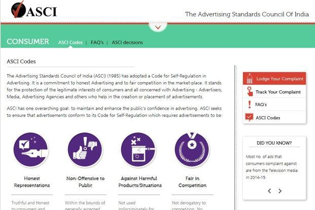 A screen grab of the Advertising Standards Council of India website.