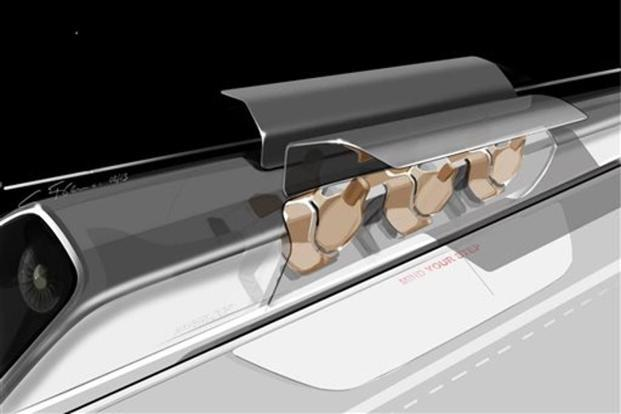 A conceptual design rendering provided by SpaceX shows a Hyperloop passenger transport capsule, at a station ready to take on passengers. Photo: AP