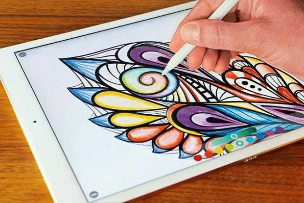 The apple pencil lets you both draw and colour on your ipad and edit text