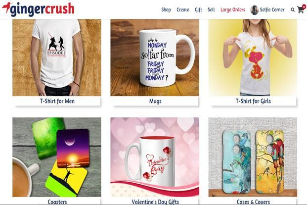 Vadodara-based Gingercrush operates a portal where customers can customise products ranging from shirts and mugs to phone cases and toys.