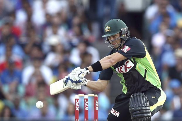 A file photo of Australia's Shane Watson playing a shot during their T20 International cricket match against India in Sydney on 31 January. Photo: AP