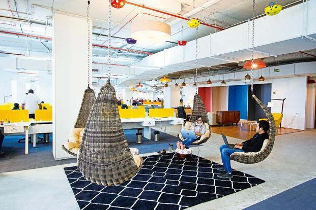 Swing chairs in the open-office plan.