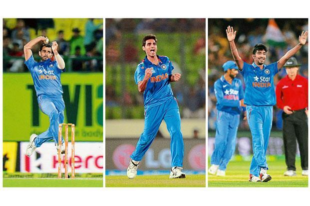 (From left) Mohammed Shami, Bhuvneshwar Kumar and Jasprit Bumrah. Photographs by: Keshav Singh/Hindustan Times, Prakash Singh/AFP, James Elsby/PTI respectively