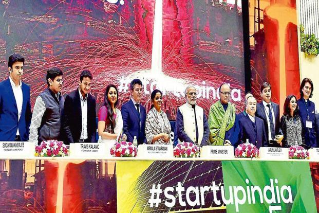 A file photo from the launch of the 'Startup India' action plan. The study shows that more than 5,000 start-up jobs are expected to be created by about 130 start-ups in the next 12 months. Photo: PTI