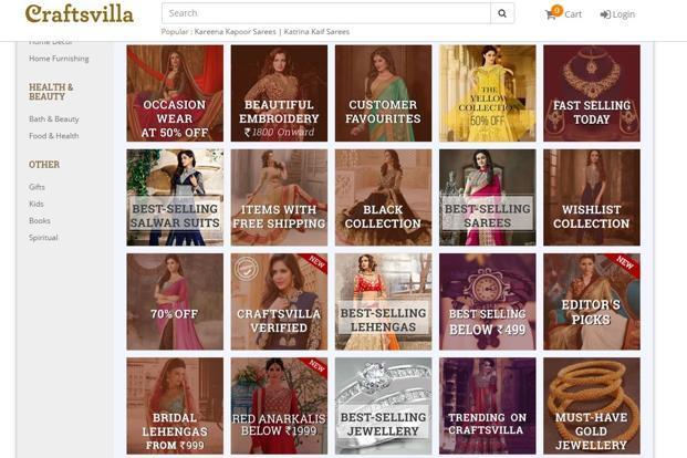 A screen grab of Craftsvilla website.