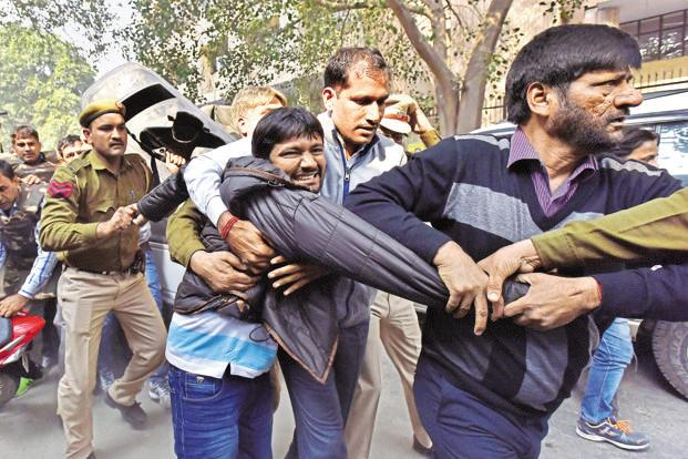 A file photo of Jawaharlal Nehru University Students' Union president Kanhaiya Kumar being taken to a court in New Delhi. Photo: Virender Singh Gosain/Hindustan Times
