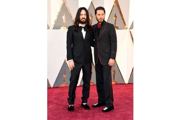 Jared Leto (right) with Gucci's creative director Alessandro Michele on the red carpet.