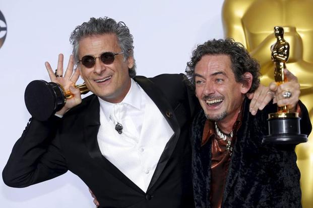 "Mark Mangini (left) and David White after winning Best Sound Editing for ""Mad Max Fury Road"". Photo: Reuters"