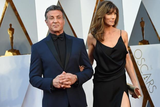 Actor Sylvester Stallone and Jennifer Flavin arrive on the red carpet. Photo: AFP