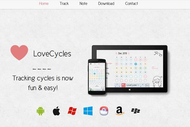 A screen grab of LoveCycles app website