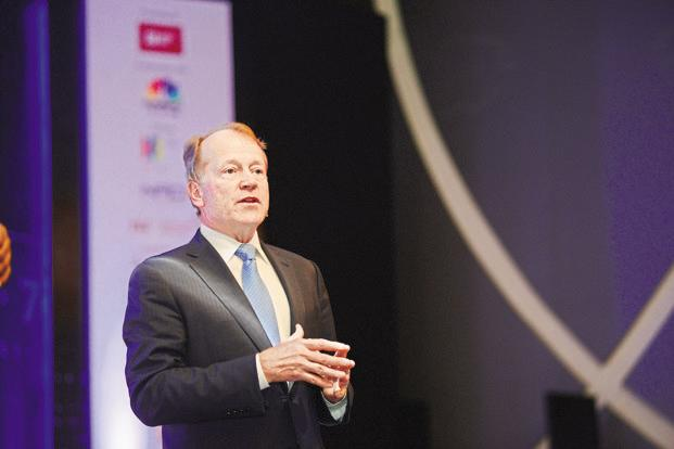 The digital economy will be worth $19 trillion (around <span class='WebRupee'>Rs.</span>6,000 trillion today) in the next 10 years and digitization is the biggest change ever, which will have 10 times greater impact than that of the Internet, says Chambers. Photo: Ramesh Pathania/Mint