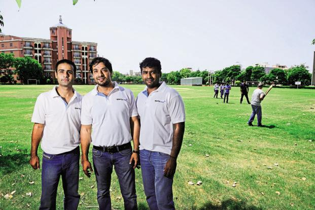 (Left to right) Nikhil Jha, Vivek Kumar and Srikumar Nair, founders of Gurgaon-based sports tech firm Sportswave that organizes games for corporate executives. Photo: Pradeep Gaur/Mint