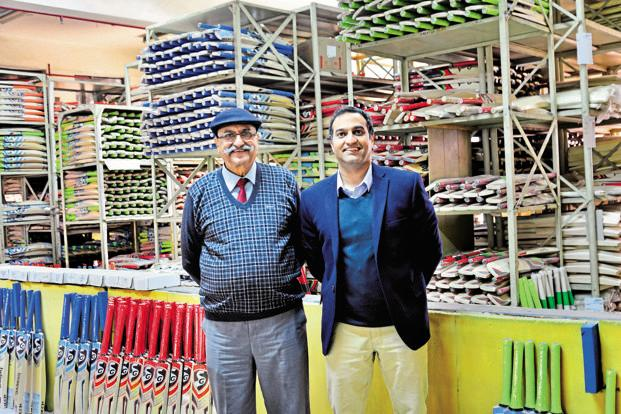 Paras (right) and Trilok Anand of Sanspareils Greenlands, or SG, makers of cricket gear. Photo: Priyanka Parashar/Mint