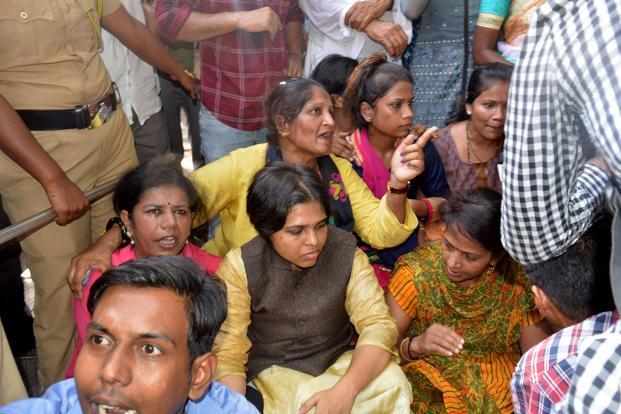 Activists including Trupti Desai (centre) at the Shani Shingnapur Temple in Maharashtra. Photo: AFP