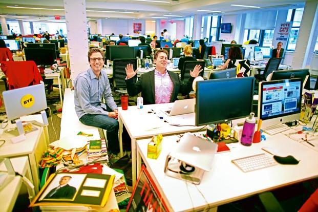 Jonah Paretti, founder and chief executive of BuzzFeed with Ben Smith, editor-in-chief, at their office in New York. In the first quarter of 2016, 85 cents of every new dollar spent in online advertising will go to Google (Alphabet Inc.) or Facebook Inc. Photo: Chang W. Lee/The New York Times