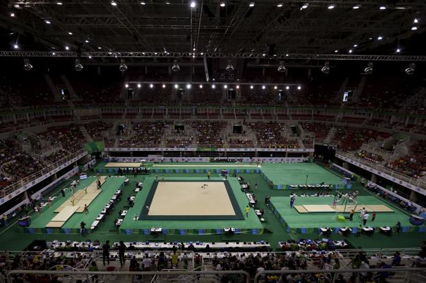 A general view of the Rio Olympic Arena during the women's team competition. Photo: Reuters