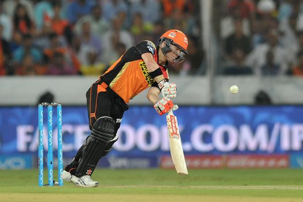 Sunrisers Hyderabad captain David Warner plays a shot during the 2016 Indian Premier League Twenty20 match between Sunrisers Hyderabad and Mumbai Indians at the Rajiv Gandhi International Stadium in Hyderabad on 18 April. Photo: AFP