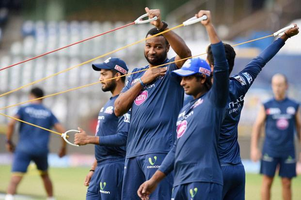 Mumbai Indians' players during the practice session at Wankhede Stadium in Mumbai on Tuesday. Photo: PTI