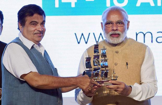 Prime Minister Narendra Modi with Union minister for road transport, highway and shipping, Nitin Gadkari  at the inaugural of the Maritime India Summit 2016 in Mumbai. Photo: PTI