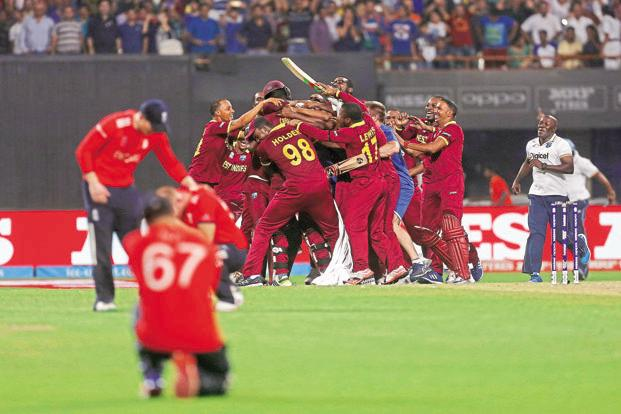 West Indian players after winning the World T20 final match. Photo: Reuters