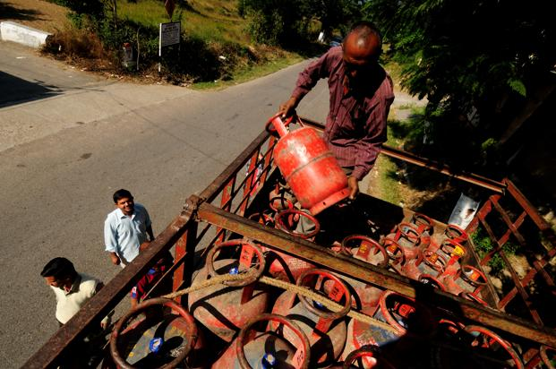 For the first three quarters of 2015-16, the government and fuel retailers together spent Rs12,000 crore on cooking gas subsidy. Photo: Pradeep Gaur/Mint  (Pradeep Gaur/Mint)
