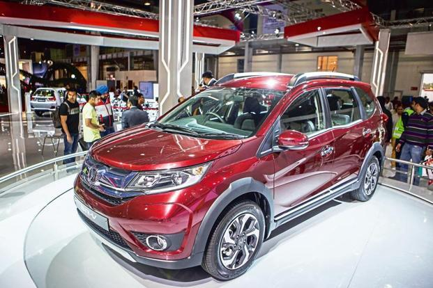 The Honda BR V Sports Utility Vehicle At The Auto Expo 2016 In Noida