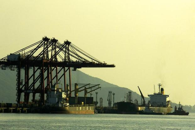 A file photo of the Jawaharlal Nehru Port in Navi Mumbai. The 12 ports handle about 55% of India's external trade by volume shipped by sea. Photo: Bloomberg