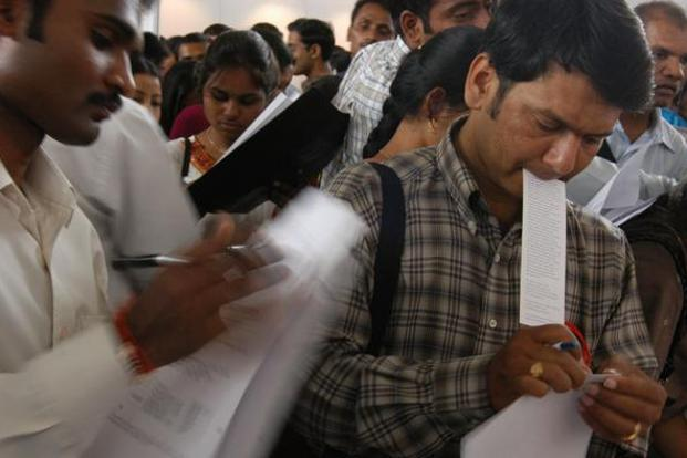 According to labour ministry data, around 1 million people enter the workforce in India every month. Photo: AP