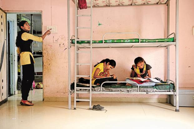 Girls in the hostel of Dr Hedgewar Memorial Public School in Aurangabad. The children receive free education as well as boarding and lodging.