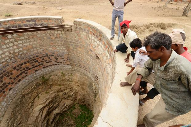 A dried up village well in Raipur village, Lalitpur district.