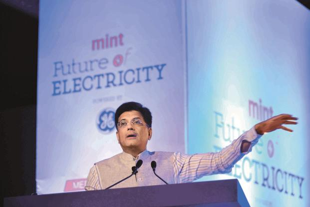 Power minister Piyush Goyal at the Mint Future of Electricity event in New Delhi on Tuesday. Photo: Pradeep Gaur/Mint