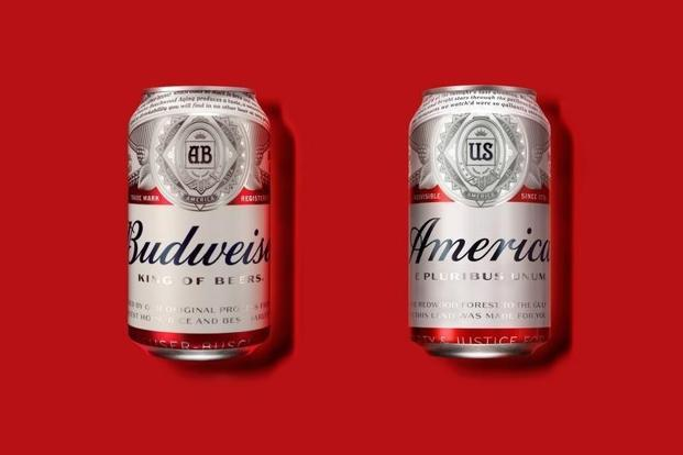 Until the 8 November US presidential election, Budweiser is swapping out everything on its can—including its own name—to be as patriotic as possible. Photo: Reuters