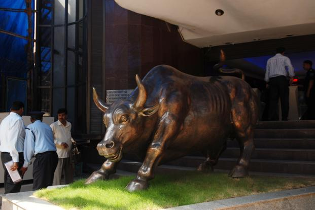 The Sensex index increased 0.8%, or 193.20 points, to 25,790.22, the highest since 27 April. Photo: Hemant Mishra/Mishra
