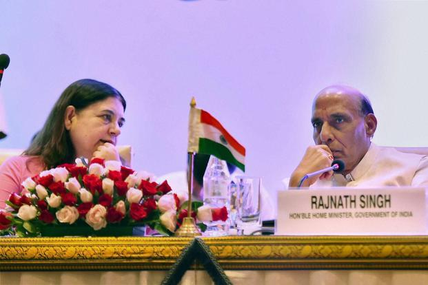 Home minister Rajnath Singh with minister for women and child development Maneka Gandhi during the 4th Ministerial Meeting of South Asia Initiative to End Violence Against Children in New Delhi on Wednesday. Photo: PTI
