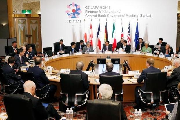 Participants at the first session at the G7 finance ministers and central bankers meeting in Sendai, Japan. Photo: Kyodo via Reuters