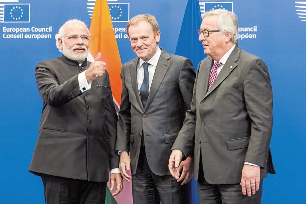 A file photo of Prime Minister Narendra Modi with European Commission president Jean-Claude Juncker (right) and European Council president Donald Tusk in Brussels. Photo: AP