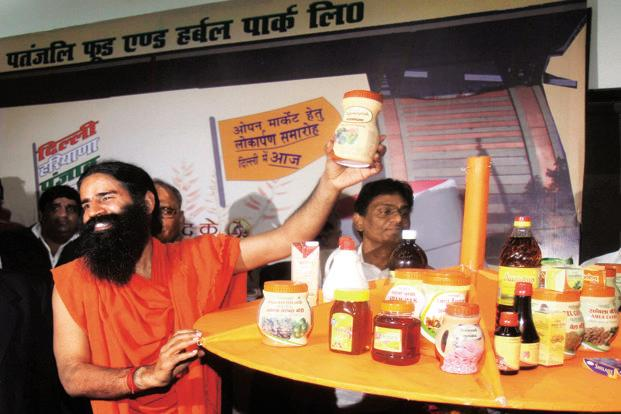 Yoga-guru Baba Ramdev at the press conference organized during the launch of indigenous daily use products by Patanjali Ayurveda Ltd. Photo: Vipin Kumar/ Hindustan Times