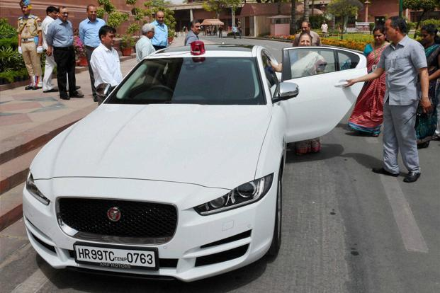 Image result for Sumitra Mahajan with White Jaguar XE, image