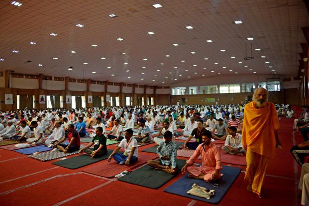 Participants during a yoga session in Patanjali Yogpeeth in Haridwar.