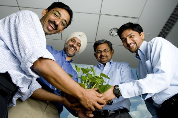 (From left) Helion Venture Partners's Ashish Gupta, Kanwaljit Singh, Sanjeev Aggarwal, Rahul Chandra at their office in Gurgaon. Photo: Mint