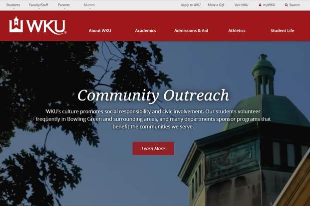 A screen grab of Western Kentucky University website.