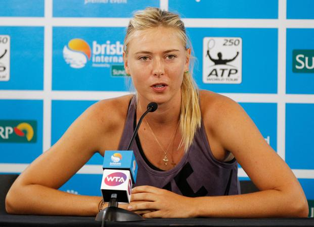 Maria Sharapova of Russia speaks during a news conference. Photo: Daniel Munoz/Reuters