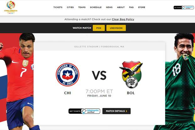 A screen grab of Copa America website